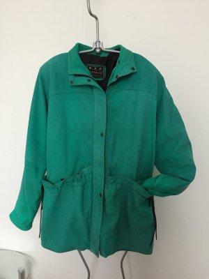 Manteau en cuir turquoise