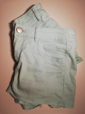 H&M Pantalón corto de tela vaquera turquesa