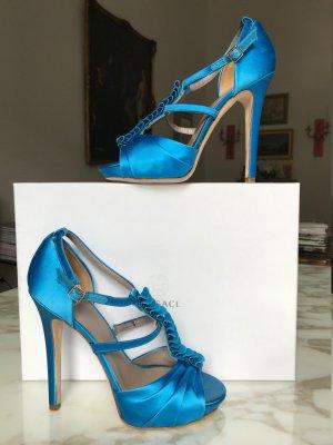 Versace Roman Sandals neon blue-light blue textile fiber