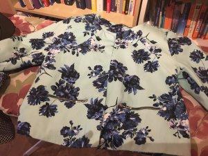 Türkisen Blazer mit blauen Blumen