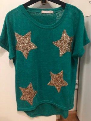Türkisenes T-Shirt mit goldenen Sternen aus Pailletten