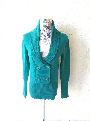 Türkiser Pullover mit 4 Knöpfen und Kragen; Größe S