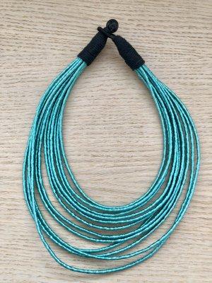 Collar estilo collier negro-turquesa