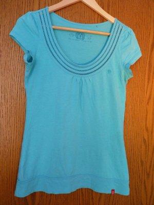 Türkises T-Shirt mit hübschem Ausschnitt von edc in Größe XS