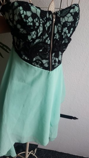 High Low Dress black-turquoise