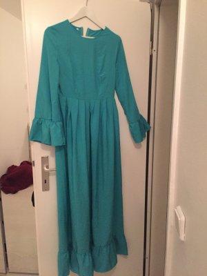 Robe chiffon turquoise-bleu clair