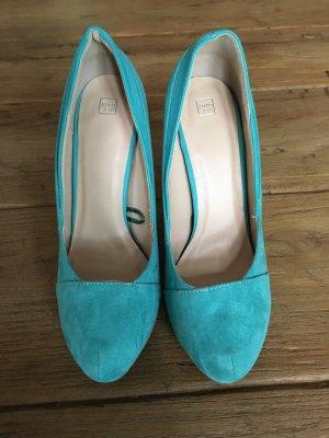 Türkisfarbene plateau - high heels