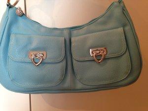 Bolsa de hombro azul neón-color plata Cuero