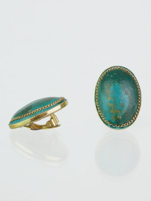 Earclip gold-colored-turquoise synthetic material