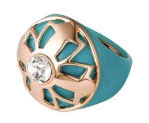 Türkisfarbener Ring mit rosefarbenem Kleeblatt
