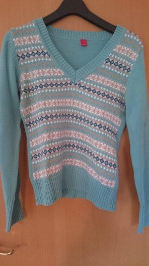 türkisfarbener Winter-Pullover mit Jaquard- Muster