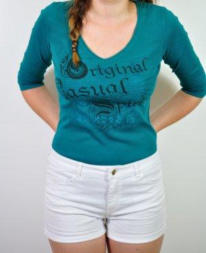 Türkisfarbenes Shirt mit 3/4 Ärmel