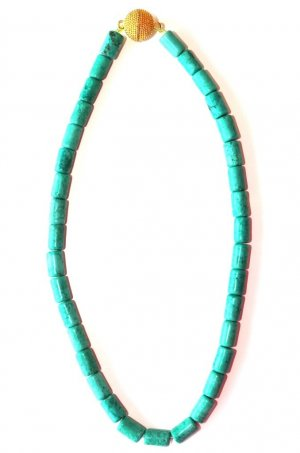 Collier Necklace gold-colored-turquoise stainless steel