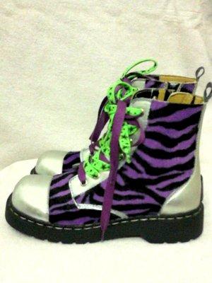 Tuk Boots silber Zebra lila Punk Gr.39 Neu - Unikat!
