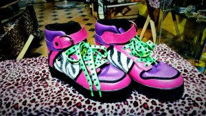 Tuk Creepers Boots Zebra lila-pink Punk Gr.38 Top!!