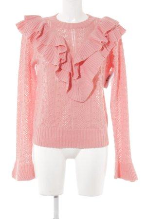 Tularosa Rundhalspullover rosa Lochstrickmuster extravaganter Stil