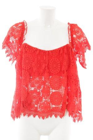 Tularosa Top di merletto rosso stile stravagante