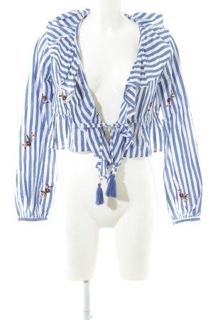 Tularosa Wikkelblouse wit-blauw gestreept patroon casual uitstraling