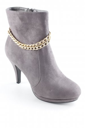 Tulipano Reißverschluss-Stiefeletten grau-goldfarben Street-Fashion-Look