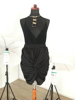 Jupe tulipe noir tissu mixte