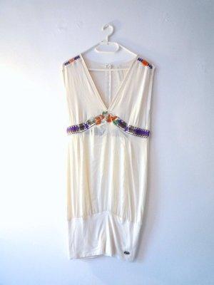 *Tulpenschnitt* transparentes creme Kleid, Perlenstickerei, Gr. S