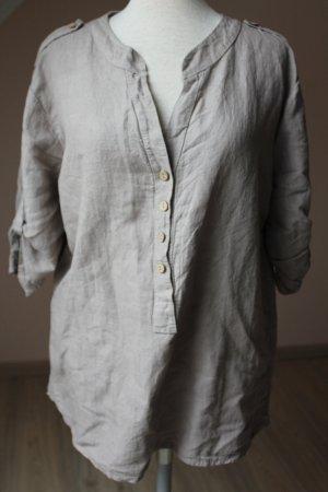 Assuili Tunique-blouse gris brun lin