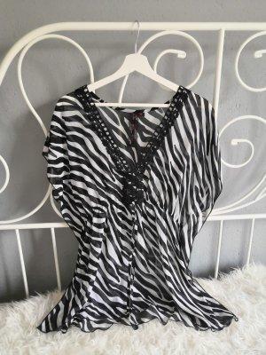Tunique-blouse blanc-noir