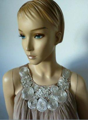 Chiffon jurk grijs-bruin-lichtbruin