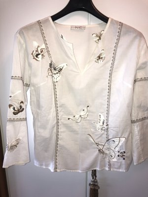 Nice Connection Blusa de túnica blanco-color bronce