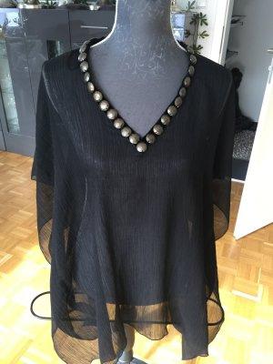 Tunika Amisu XS/S schwarz mit Steinen am Ausschnitt