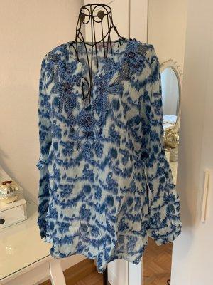 Tunic Blouse white-cornflower blue