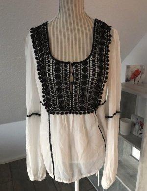 Hallhuber Donna Tunique-blouse blanc-noir