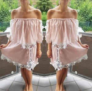 Tunika Bluse Bandeau rosa weiß Hippie Kleid Lace Spitze boho blogger vintage hipster