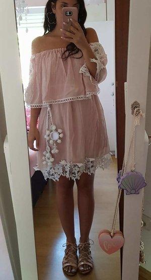 Tunika Bluse Bandeau rosa weiß Hippie S Kleid Lace Spitze boho blogger vintage hipster