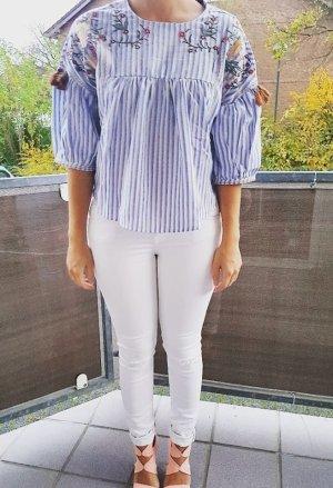 Tunika Bluse blau weiß gestreift Hippie S Lace Spitze boho blogger Pom Pom hipster