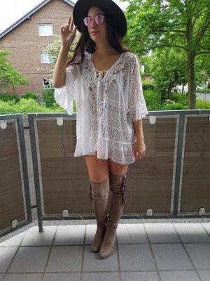 Tunika Bluse Hippie S Kleid Lace Spitze boho blogger vintage hipster Pom Pom Bommel Volants