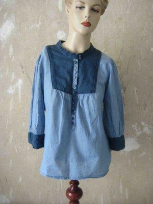 Tunika-Bluse in hell-dunkel-blau - casual Look