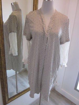 Tunika Bluse Kleid dunkelblau weiss gepunktet Gr 40