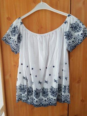 Tunika Bluse, neu , reine Baumwolle, mit blauer Stickerei#D 38 - D 44