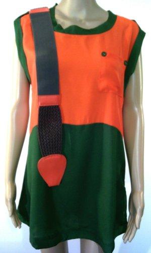 Tunika-Bluse orange mit Gürtel von Soggo Paris