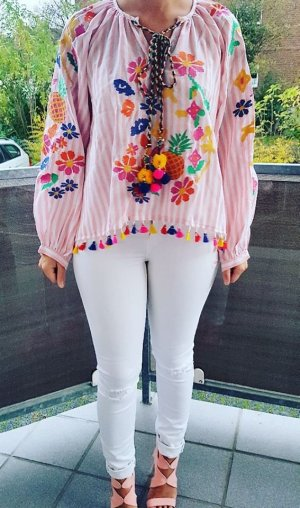 Tunika Bluse rosa weiß gestreift Ananas Blumen Stickerei Bommel blogger hipster boho
