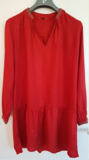 Tunika, Bluse, Rot mit Perlenstrickerei und Volant am Saum, Gr. 36, H&M, neuwertig!