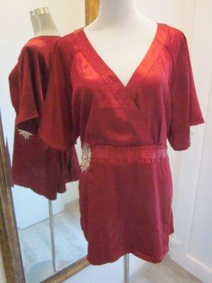 Tunika Bluse Rot V Ausschnitt Gr XL / 50 Rot