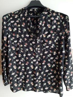Tunika Bluse schwarz mit Blumenmuster