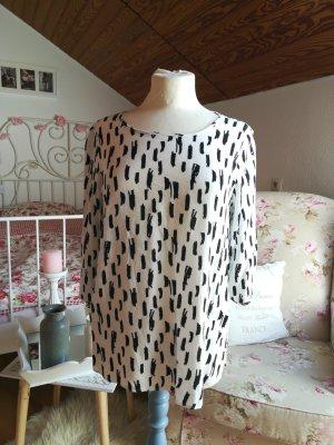 Tunika Bluse schwarz weiß grafisch Flecken Tupfen