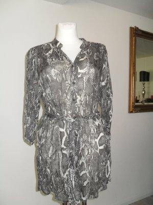 Hauber Blusa de túnica gris claro-blanco
