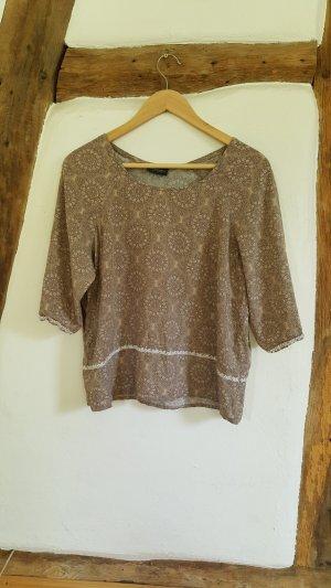 Tunika Bluse Shirt, beige taupe, Blumen Mandala, Casual Hippie Boho Ethno