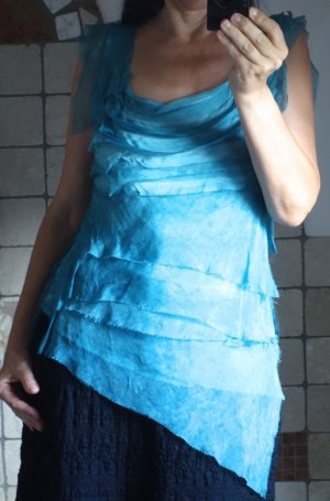 Tunika, Bluse, Top in Seide, Volants, NEU S/M