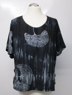 Tunika Bluse Top Unikat Art Wear Größe L 40 42 Schwarz Grau Ginko Streifen Batik Muster Viskose Flatter Kurz Shirt
