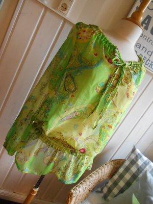 Tunika Bluse transparent Grün Bunt